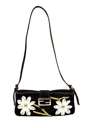 Fendi Daisy Embroidered Denim Baguette Shoulder Bag