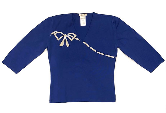 Chloe Blue Ribbon Sweater