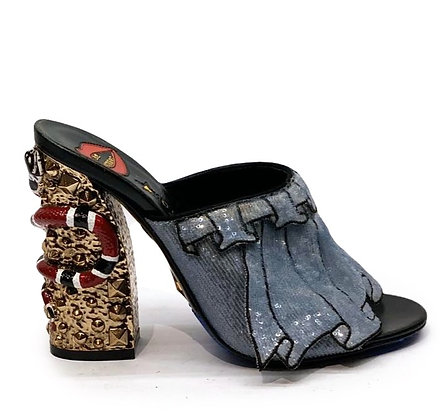 Gucci Trompe L'oeil Sequin Embellished Block Heel Mules