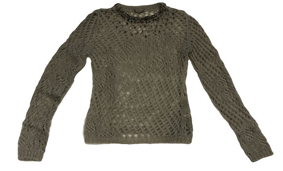 Ermanno Scervino Strass adorned cable knit crew-neck sweater