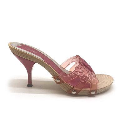 Fendi Pink Transparent Platform Sandals