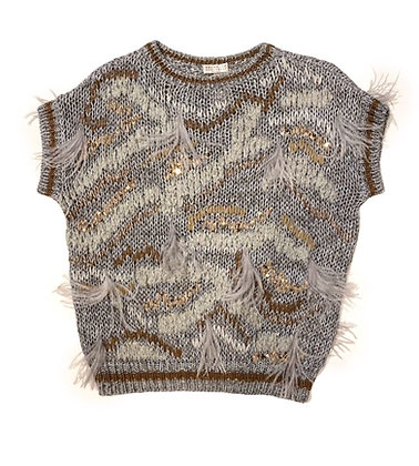 Brunello Cuccinelli Sequins and Feathers Sweater