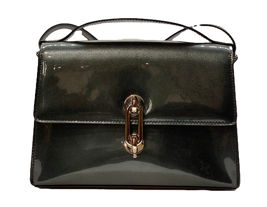 Balenciaga Black Maillon Mini Trapeze Patent Leather Shoulder Bag