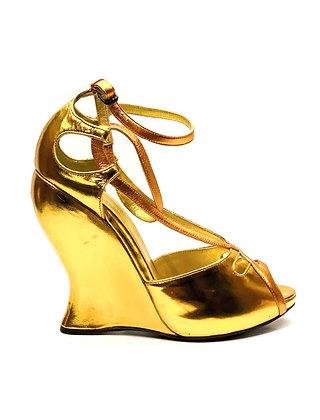 Bottega Veneta Gold Leather Cut-Out Ankle Strap Wedge Sandals
