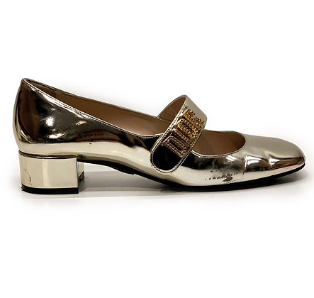 Dior Silver Laminated Leather Baby-D Mary Jane Pumps