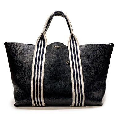 Celine Black Pebbled Leather Tote with Canvas Striped Straps