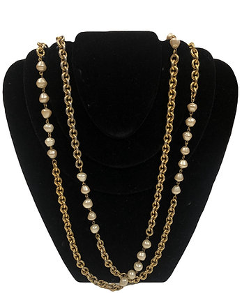 Chanel Vintage Pearl Chain Necklase