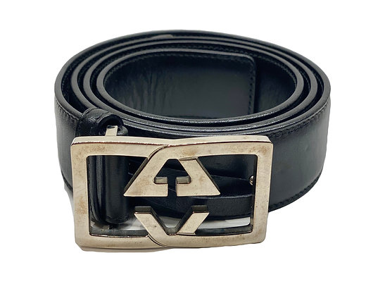 Gucci Leather Belt with Rectangular GG Buckle