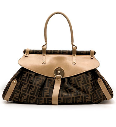 Fendi Zucca Canvas and Leather Bag