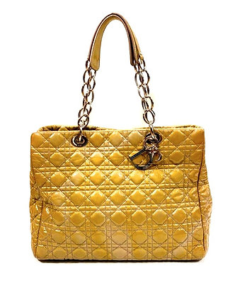 Christian Dior Cannage Quilted Patent Leather Large Shopping Tote