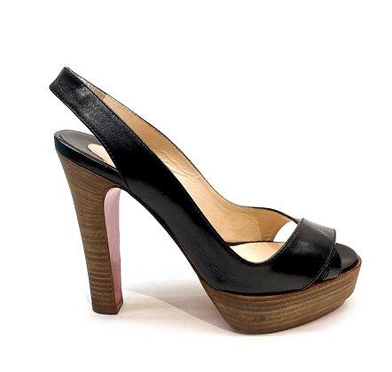 Christian Louboutin Black Leather and Wood Platform Sandals