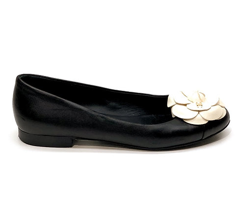 Chanel Black Leather White Camelia Flats