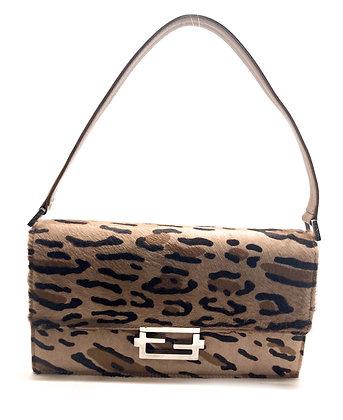 Fendi Leopard Ponyhair Baguette Bag