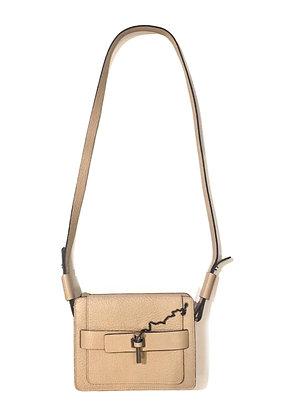 Carven Beige Malher Grained Leather Mini Crossbody Bag