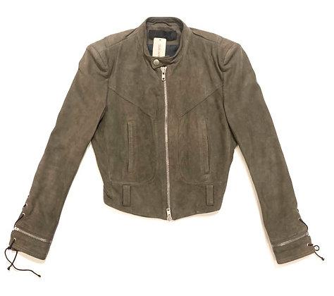 Haider Ackermann Green Suede Leather Jacket