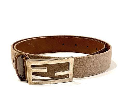 Fendi Beige Wool FF Buckle Belt