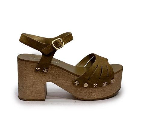 Chanel Suede Wooden Studded Platform Sandals
