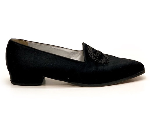 Gucci Black Silk GG Embroidered Loafers
