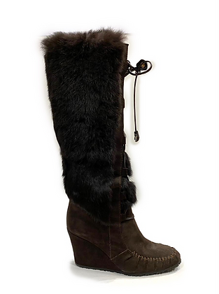 Celine Wedge in Brown Suede and Fur Boots
