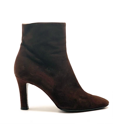 Yves Saint Laurent Brown Suede Leather Ankle Boots