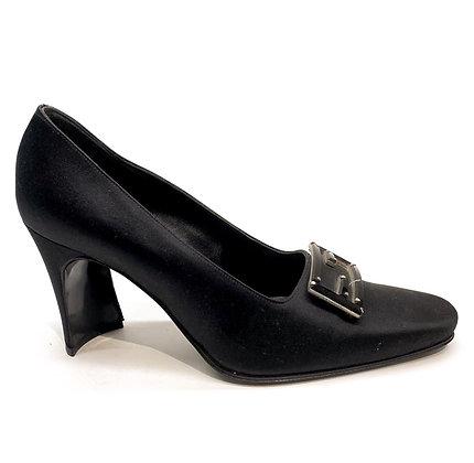 Fendi Vintage Black Silk Logo Buckle Shoes