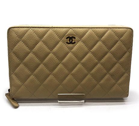 Chanel Beige Quilted  Caviar Zippy Wallet