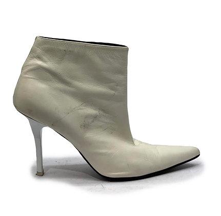 Celine Unhidden Ankle Booties Optic White Laquered Stiletto Heels