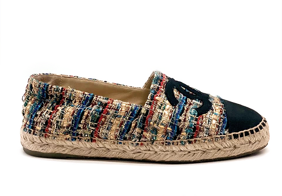 Chanel CC Multicolor Tweed Espadrilles