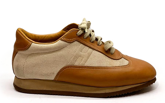 Hermes Canvas and Gold Leather Quick Lace Up Sneakers