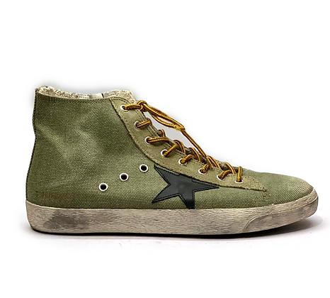 Golden Goose Green/Black Star Mens Sneakers
