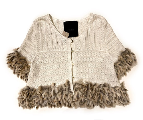 Fendi White Cotton & Fur Vest