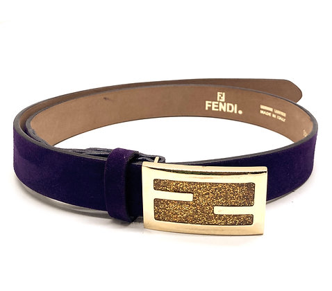 Fendi Violet Suede Leather Glitter Gold-Tone Buckle Belt
