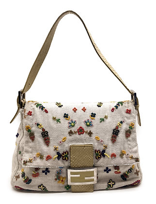 Fendi Linen Embroidered Mama Bag