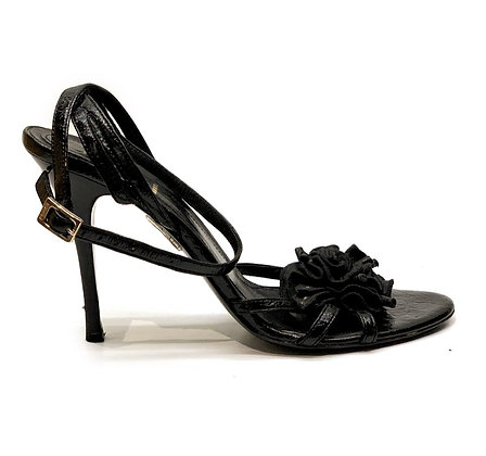 Fendi Black Leather Flower Sandals