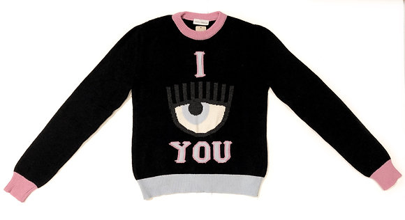 Chiara Ferragni Black Merino See You Sweater
