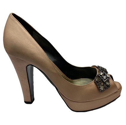 Giorgio Armani Peep-Toe Satin Shoes T37