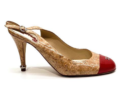 Chanel Glazed Cork CC Cap-Toe Slingback Pumps
