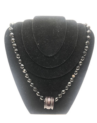 Faux Azabache and Wood Necklace