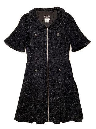 Chanel Tweed Black Dress-Coat