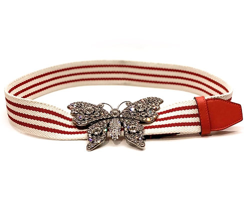 Gucci Jacquard Crystal Butterfly Belt