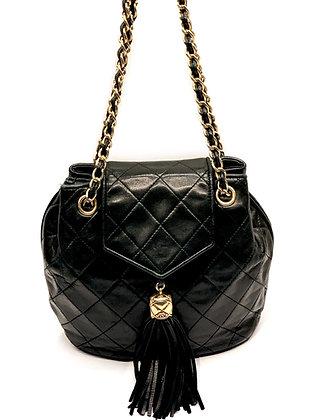 Chanel Black Quilted Lambskin Vintage Tassel Bag