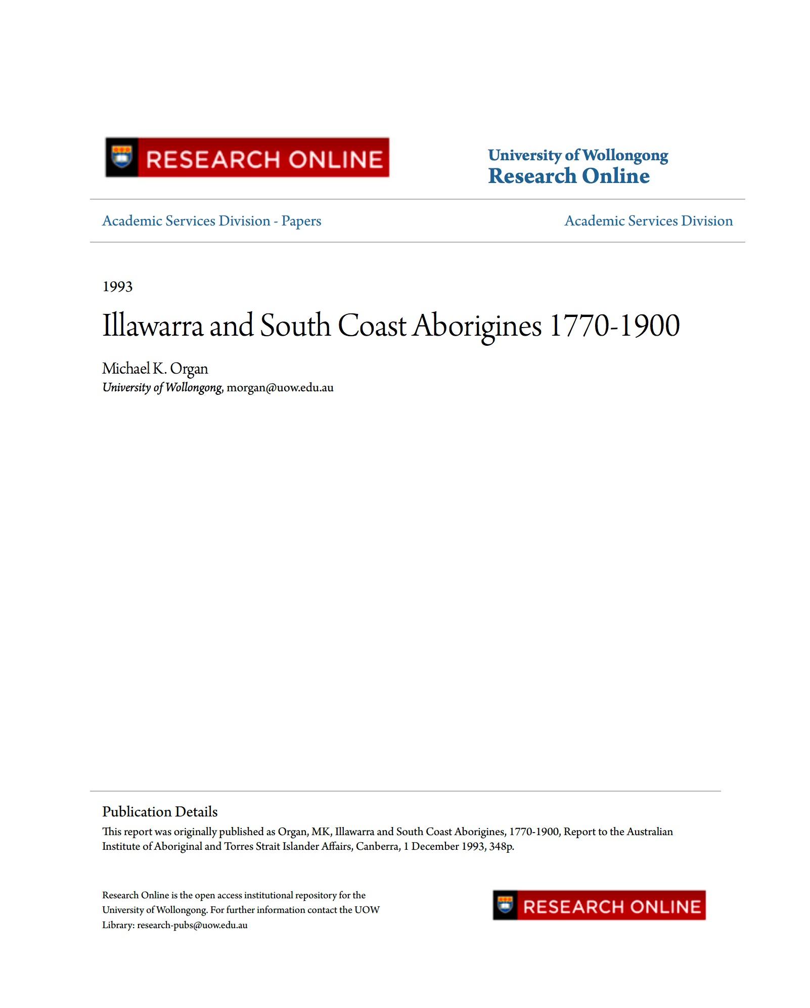 Illawarra and South Coast Aborigines