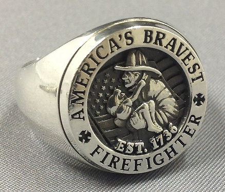 America's Bravest Silver Sterling Firefighter Ring