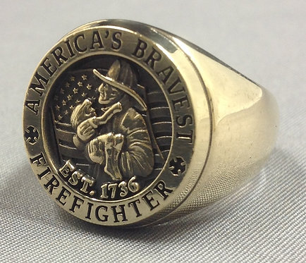 America's Bravest Yellow-Gold Firefighter Ring