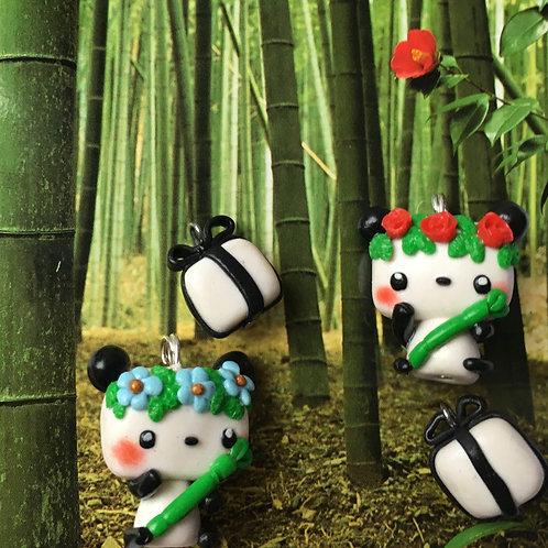 Pandas couronne de fleurs