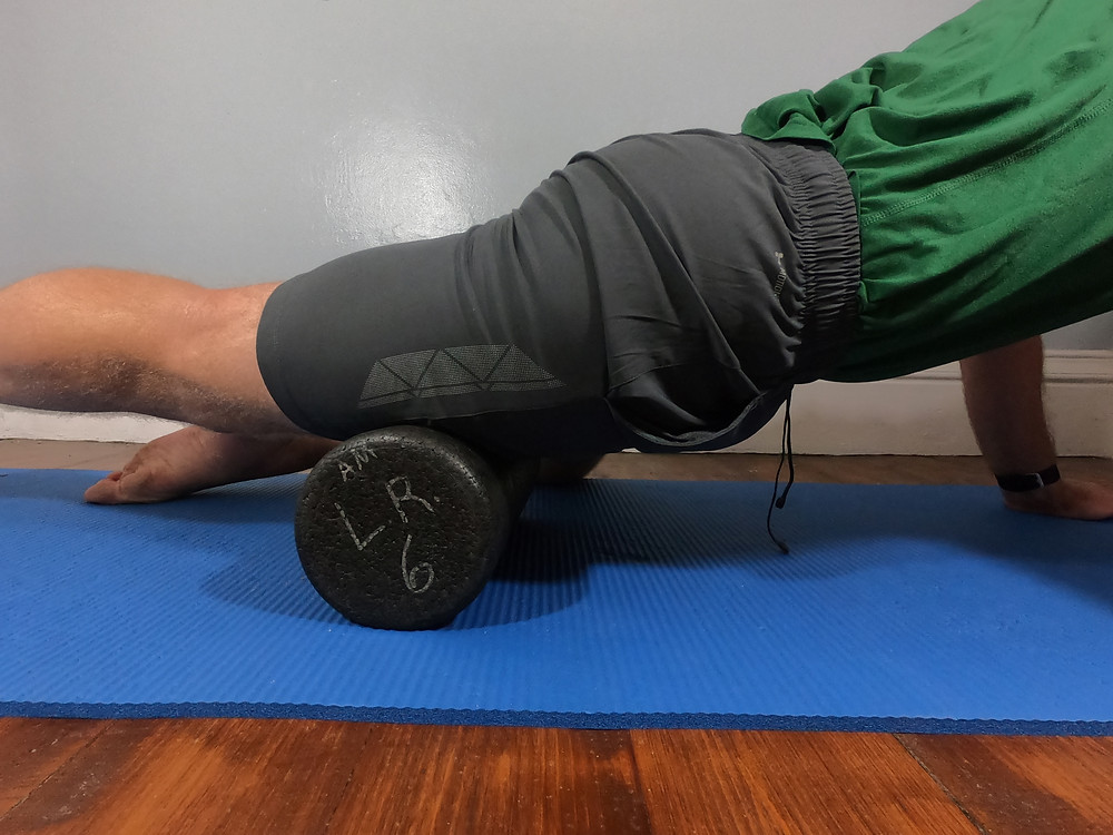 A standard high density foam roller used for running recovery