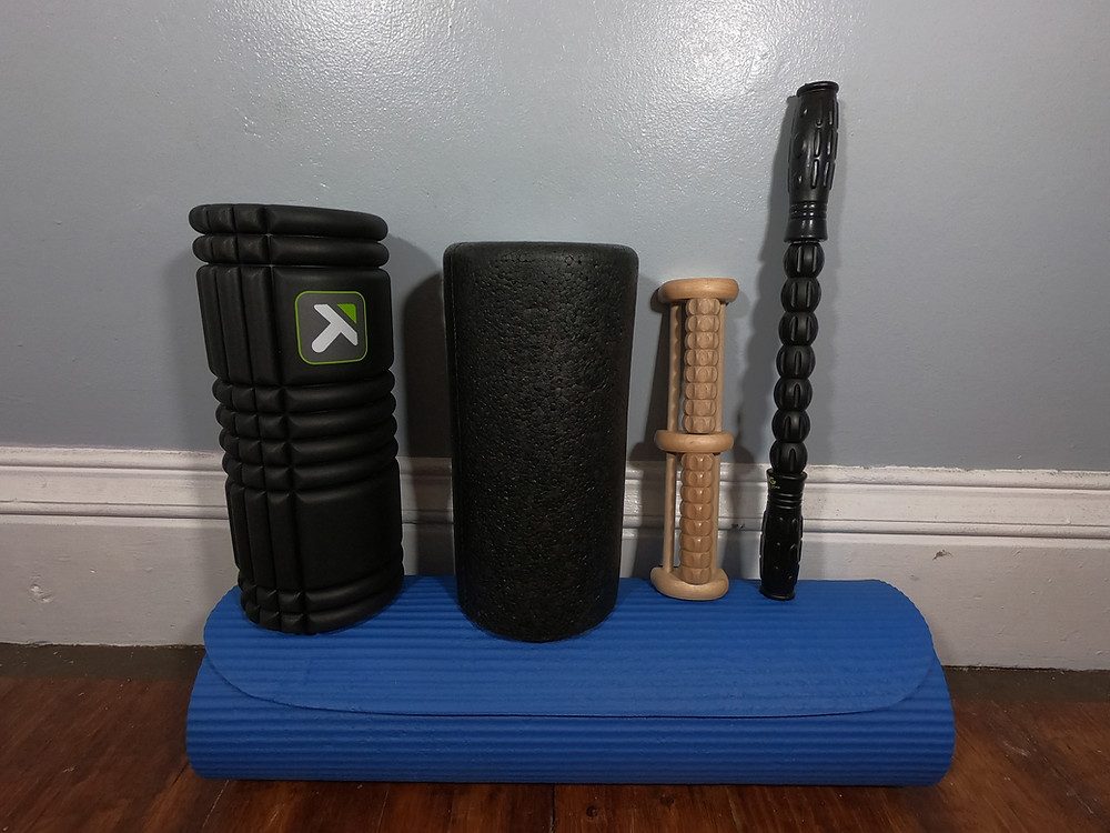Favorite running recovery gear. Foam roller, massage stick, yoga mat.