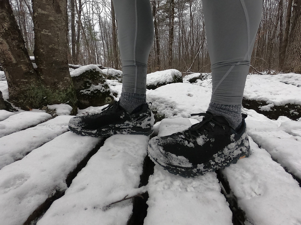 Running shoe review of the Altra Olympus 4 trail running shoe in the snow