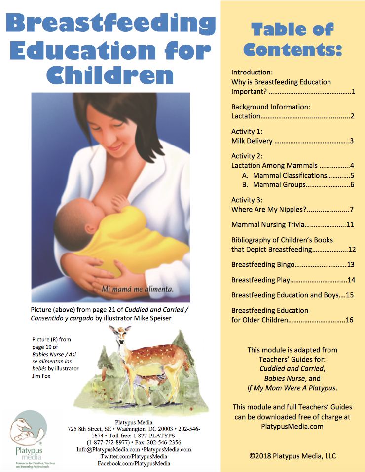 Breastfeeding education for children resources nursing downloadable platypus media