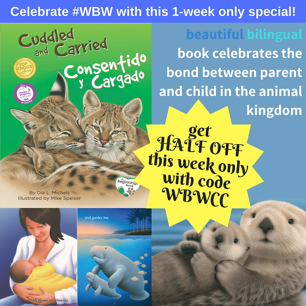 Cuddled and Carried biligual childrens literature book nursing
